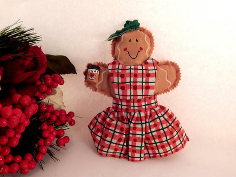 "Gingerbread Girl Doll Soft Sculpture Hand Crafted 7"" Folk Art Christmas Decoration"