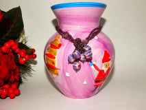 Purple Ceramic Vase with Beaded Band Hand Painted Snowman Santa and Christmas Trees Holiday Decoration