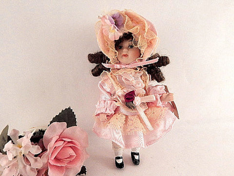 Porcelain Doll White Brunette Girl Victorian Dress and Bonnet 6 Inch Display Toy Vintage 1980's Springford Collectible Girls Keepsake Toy