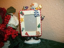 Snowman Portrait Picture Frame Winter Christmas Home Decor