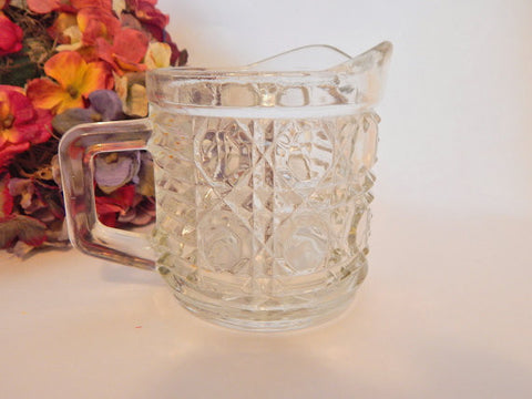 Creamer Sauce Serving Dish Windsor Clear Button and Cane Tableware Federal Glass USA Vintage 1950's Classic Pitcher Mid-Century Tableware