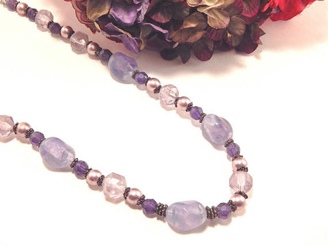 "Beaded Necklace Amethyst Gemstones Pink Pearls Lavender Faceted Beads 20-23"" Vintage 1980's February Birthstone Jewelry"