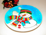 Snowman Gift Plate Blue and White Winter Decoration Christmas Dessert Snack Serving Tableware