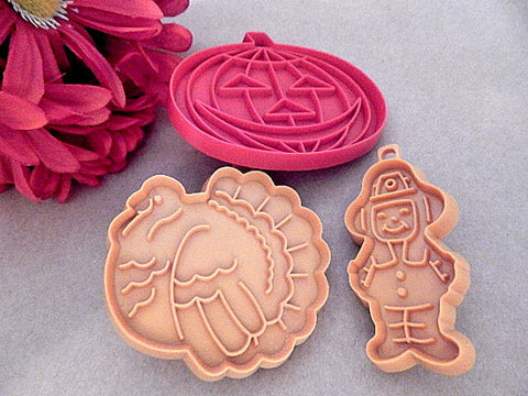 Cookie Cutters Fall Halloween Pumpkin Hallmark Thanksgiving Pilgrim and Turkey Vintage Collectible Baking Tool and Craft Supply