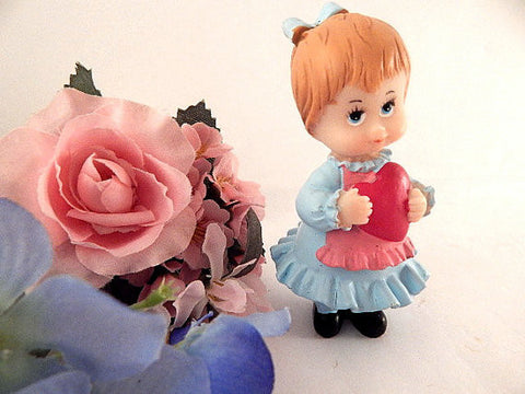 Young Girl Child Toddler Figurine Red Heart Hand Painted Resin I Love You Keepsake Gift Vintage 1980s Home Decor