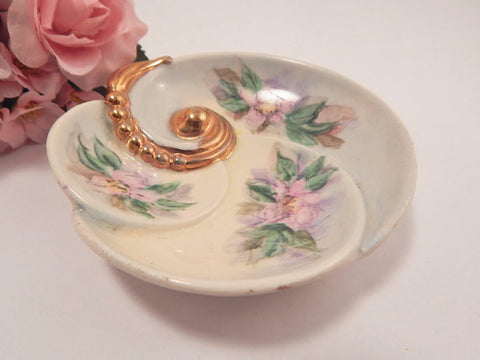 Art Deco Shell Dish Hand Painted Fine China Dresser Top Jewelry Ring or Trinket Dish Vintage 1950's Home Decor