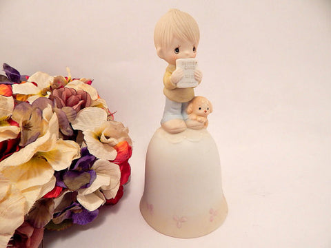 Precious Moments Figurine Bell Report Card Boy and Dog Jonathan and David God Understands Vintage 1980's Enesco Collectible Porcelain Bisque