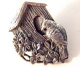 Bird House Brooch Birds and Blooms Pin Limited Edition Pewter Jewelry