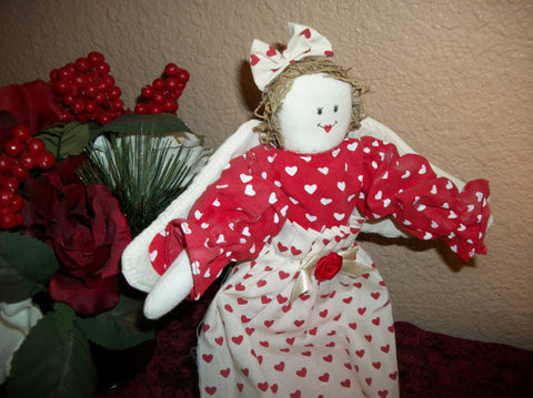 Angel Doll Valentine's Day Red White Heart Hand Crafted Soft Sculpture Folk Art Wall Hanging Shelf Sitter