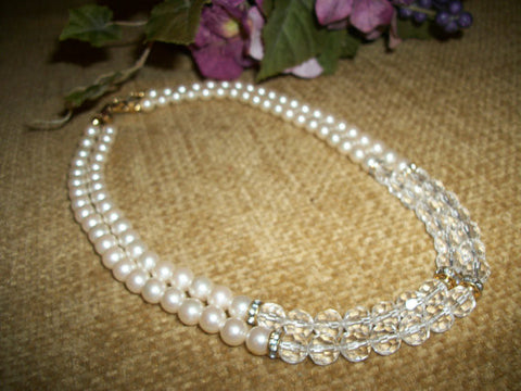 "Beaded Necklace Faux Pearls Acrylic Faceted Beads Rhinestone Accents 18"" Double Strand Wedding Bridal Formal Princess Length Vintage Jewelry"