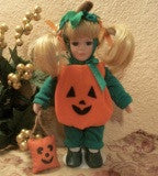 "Blonde Girl Doll Wearing Pumpkin Halloween Costume 9"" Keepsake Collectible by Anco Fall Home Decor"