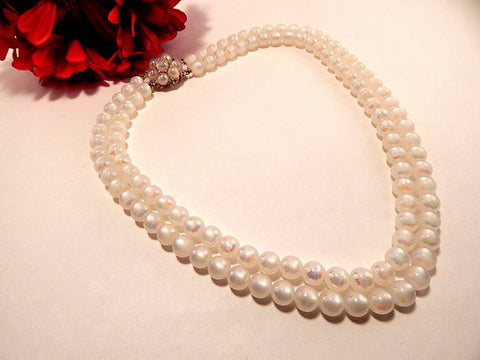 Beaded Necklace White 10mm Faux Pearl 22 Inch Double Strand with Cluster Clasp Vintage 1960's Costume Jewelry Regal Formal Bridal Wedding