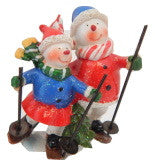 Snowman Couple Skiing Figurine Red White Blue Christmas Decoration