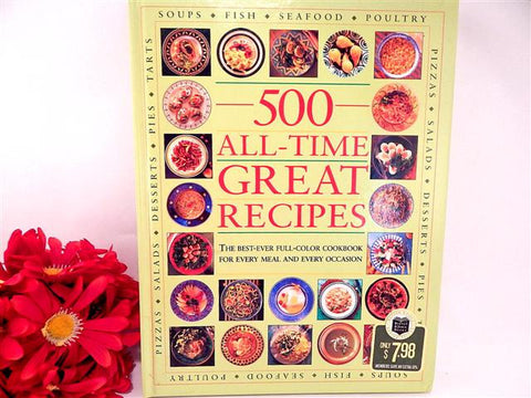 500 All-Time Great Recipes Cookbook 2003 Barnes & Noble Hardcover Fine Dining Home Cooking Gift Book