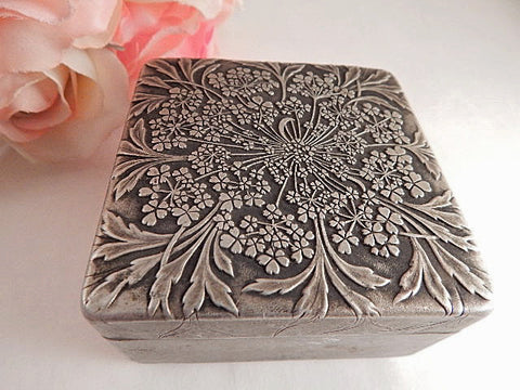 Powder Box Antique Lov Lor Cheramy Aluminum Covered Box Made in France RARE Artist Rene Lalique Design Vintage Cosmetic Dish Boudoir Accessory