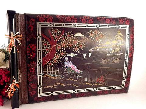 Japanese Pictorial Scrap Book Red and Black Lacquered Antique 1930's Ribbon Tied Blank Pages Photo Album Heritage Scrapbook Craft Supply