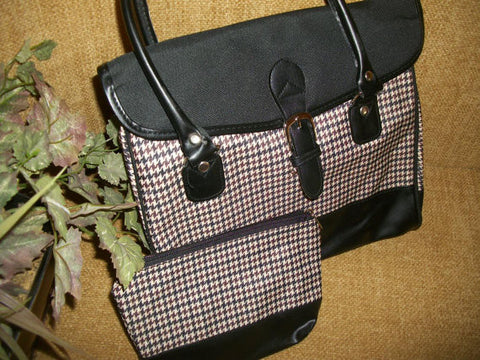 Houndstooth Plaid Handbag Black Brown Beige Faux Leather Envelope Purse with Matching Cosmetic Bag