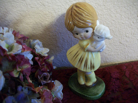 Young Girl Holding Baby Lamb Figurine Spring and Easter Home Decor Hand Painted Vintage Ceramic