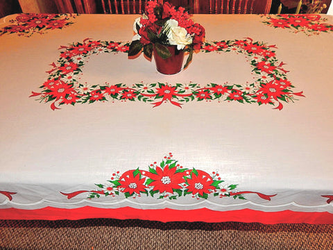 Christmas Tablecloth 68 x 54 Retro Red White and Green Floral Table Linen Poinsettia Flowers Mid-Century Winter Holiday Home Decor