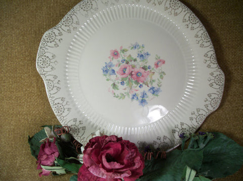 Royal China Sebring Cake Plate Serving Platter Tableware Fine China Pink Blue Flowers 22K Gold Trim Replacement Dish Model 5186