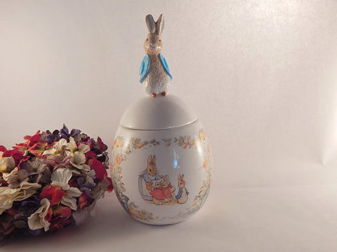 Beatrix Potter Peter Rabbit Covered Jar Ceramic Candy Dish Teleflora Giftware Easter Decoration Baby's Room Decor Vintage 1996 Collectible