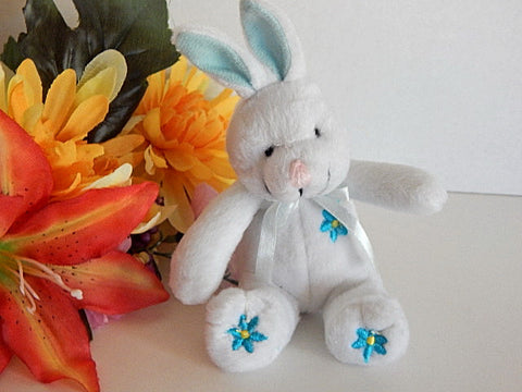 "White Rabbit  Blue Floral Bunny 5"" Plush Stuffed Animal Easter Basket Stuffer Vintage 1990s Toy"