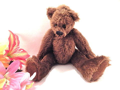 "Teddy Bear Plush Stuffed Animal 9"" Jointed Rare Vintage Isabear by Pat Whitley Cottage Home Decor Toy"