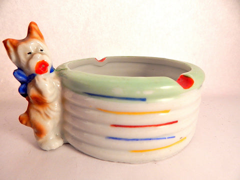 Dog Ashtray Vintage 1930's Porcelain Trinket Dish Made in Japan Art Deco Collectible Tobacciana Home Bar Decor