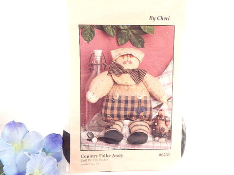 Boy Rag Doll Vintage Sewing Craft Pattern 10 Inch Country Folke Andy Home Decor Pattern Designed by Cheri