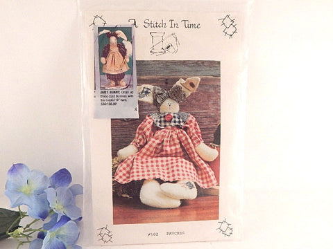Bunny Rabbit Rag Doll Sewing Craft Pattern 15 Inch Doll and Clothing Vintage 1993 A Stitch in Time Home Decor Pattern
