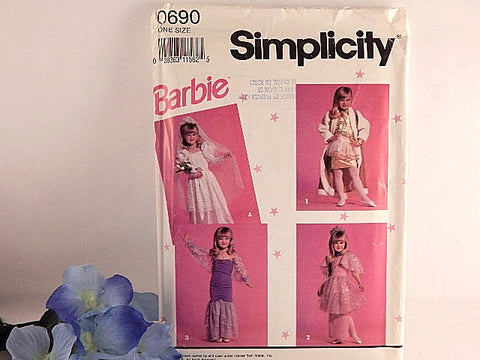 Barbie Girls Dress Up Sewing Pattern Uncut Simplicity 0690 Size 3-8 Halloween Costume Bride Mermaid, Princess Fashionista Vintage 1991