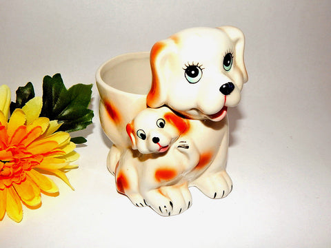 Dog and Puppy Planter Spaniel Mother and Baby Ceramic Dish Vintage Retro Mid Century Home Decor