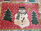 Place Mats Snowman Tableware Four Cotton Polyester Blend Table Pads Vintage 1980's Christmas Winter Home Decor