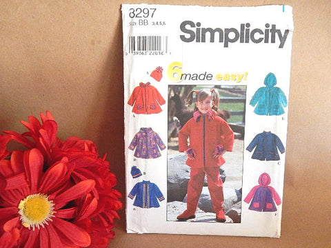Girls Clothing Sewing Pattern Uncut Simplicity 8297 Size 1T to 6 Girls Jacket and Hat