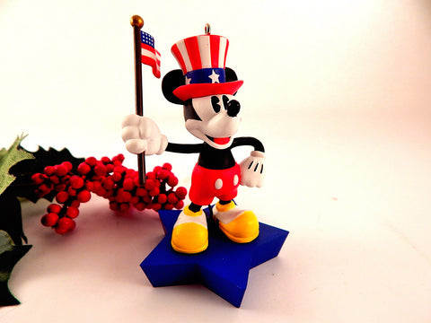 Mickey Mouse American Flag Ornament 2005 Disney Figurine by Hallmark Red White Blue USA Patriotic Collectible Disneyana