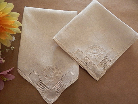 "Linen Napkins Set of Two Antique Luncheon Napkins 11 1/2"" Square Embroidered Open Cut Work Ecru Table Accessory Vintage 1940's Tea Napkins"