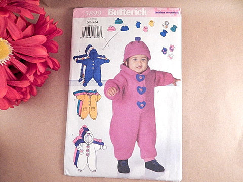 Baby Clothing Bunting Sewing Pattern Uncut Butterick 5899 Size  Newborn to 21 lbs Boys or Girls Winter Romper Hat Mittens Booties