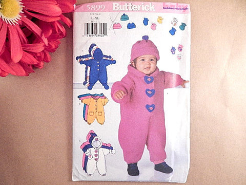 Baby Clothing Bunting Sewing Pattern Uncut Butterick 5899 Size L - XL 22 - 30 lbs Boys or Girls Winter Romper Hat Mittens Booties
