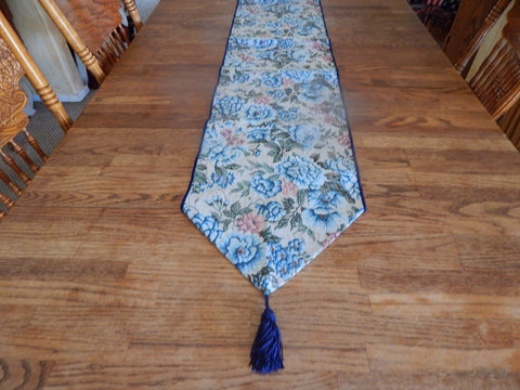 "Table Runner Blue Floral Woven Cotton Tapestry Table Linen 72"" x 13"" Vintage Home Decor"
