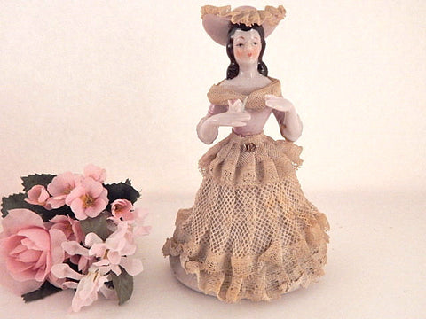 Victorian Woman Porcelain Figurine Dresden Style Lace Dress Hand Painted Collectible Vintage 1950's Made in Japan