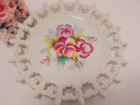 Decorative  Wall Hanging Plate Vintage Lefton China Hand Painted Pink and Lavender Pansies