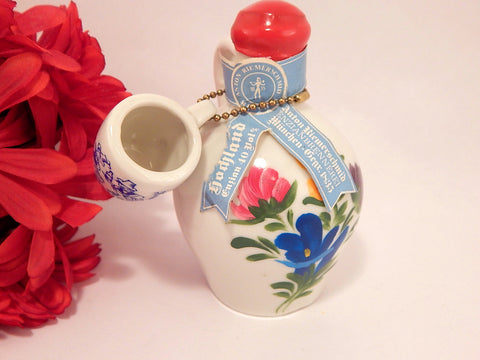 Anton Riemer Schmid Porcelain Liquor Jug with Shot Glass Mug Handpainted Floral Vintage 1970's Empty Bavarian Enzian Liqueur Decanter