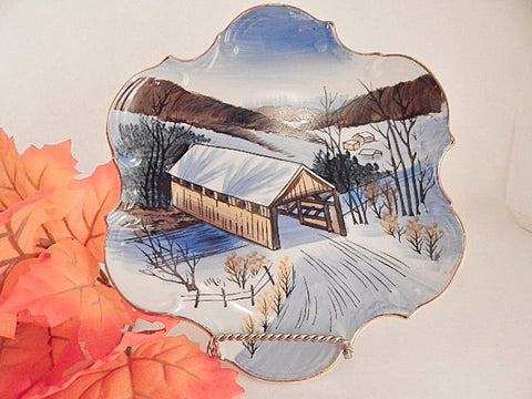 Wall Hanging Plate Covered Bridge Winter Scene Snow Vintage Norcrest Fine China Hand Painted Mid-Century Home Decor