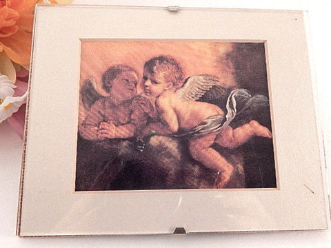 "Wall Hanging Picture Rosso Fiorentino Child Angels Two Cherubs Renaissance Art Print  5"" x 4"" Minimalist Acrylic Frame Home Decor"