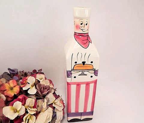 "Cooking Oil or Vinegar Bottle Hand Painted Chef Square 10"" Ceramic Decanter Decorative Kitchen Accessory"
