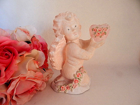 Cherub Figurine Ceramic Baby Angel Pink Bisque Vintage Russ Berrie Moments of Love Collectible Victorian Cottage Shabby Home Decor Gift