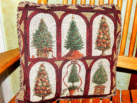 Accent Pillow 16 Inch Square Elegant Tapestry Gold Burgundy and Green Christmas Trees Winter Holiday Home Decor