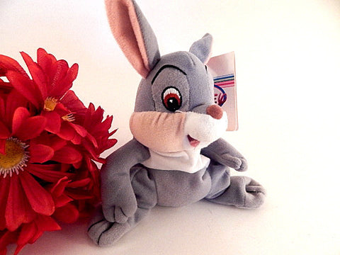 "Rabbit Stuffed Animal Grey and White Mini Bean Bag Toy Walt Disney Movie Bambi Thumper 6"" Collectible Disneyana"