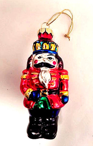 Nutcracker Soldier Hand Painted Glass Ornament Christmas Decoration Vintage Collectible