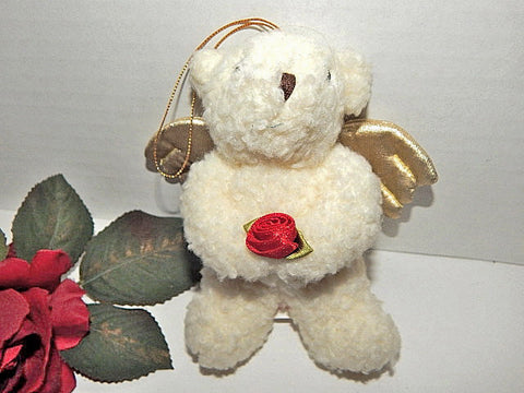 Angel Bear Plush Stuffed Animal Vintage Russ Berrie Ornament Christmas Valentines Day Bear Gift